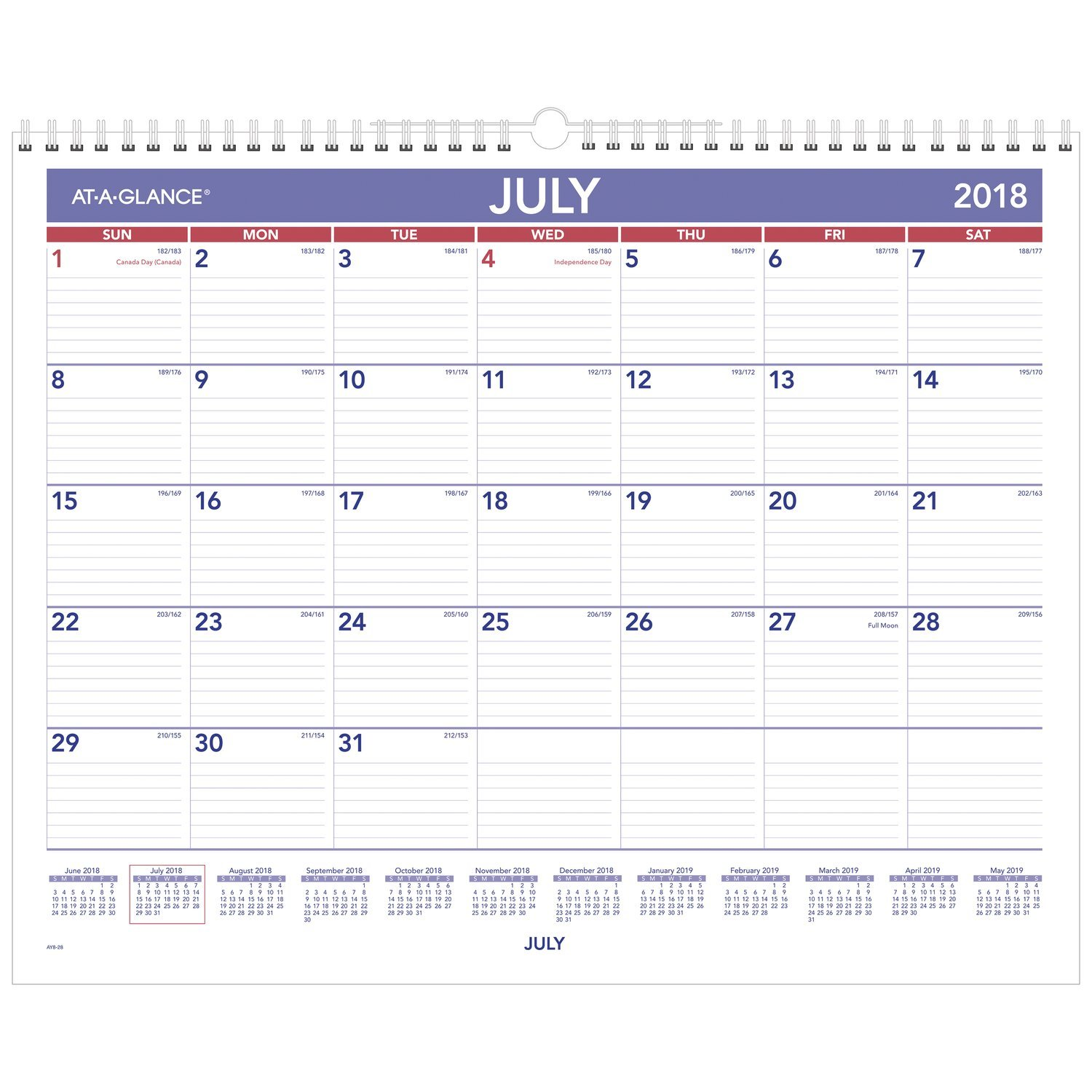 AT-A-GLANCE 2018-2019 Academic Year Wall Calendar, Medium, 15 x 12, Wirebound (AY828)