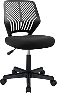 BOSSIN Kids Desk Office Chair for Teens Computer Mesh Chair with Low-Back Armless Adjustable Swivel Ergonomic Home Office Student Chair Black White(Black)