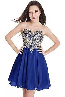 ab780e8e8 Babyonline Junior's Gold Lace Applique Short Quinceanera Homecoming Dresses