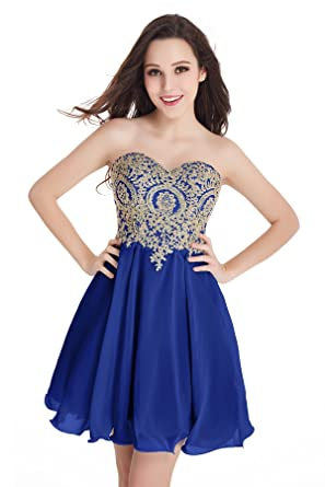 ab3ff56eb15 Babyonlinedress Women Sleeveless Bodycon Lace Applique Chiffon Cocktail Party  Prom Dress(Blue