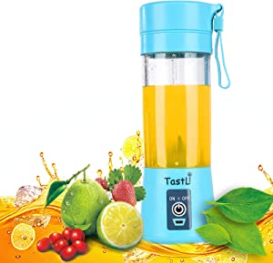 TastLi Portable Blender, Fruit Juicer Cup,13oz Mixing Machine with Six Blades in 3D, Magnetic sensor and 2000mAh USB Rechargeable Batteries, Perfect Mini Smoothie Blender Cup for Personal Use (Blue)