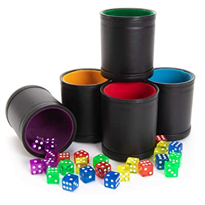 Game Night Pack, Assorted Colors - 5 Professional Shaker Cups with Velvet Felt-Lined Interior, Quality Bicast Leather Exterior & 25 Multicolored Translucent Dice - Red, Yellow, Green, Blue, & Purple: Toys & Games