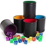 Game Night Pack, Assorted Colors - 5 Professional Shaker Cups with Velvet Felt-Lined Interior, Quality Bicast Leather…