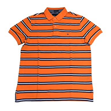 d54b588d Tommy Hilfiger Mens Custom Fit Striped Polo Shirt (Orange/Navy/White,  X-Small) at Amazon Men's Clothing store: