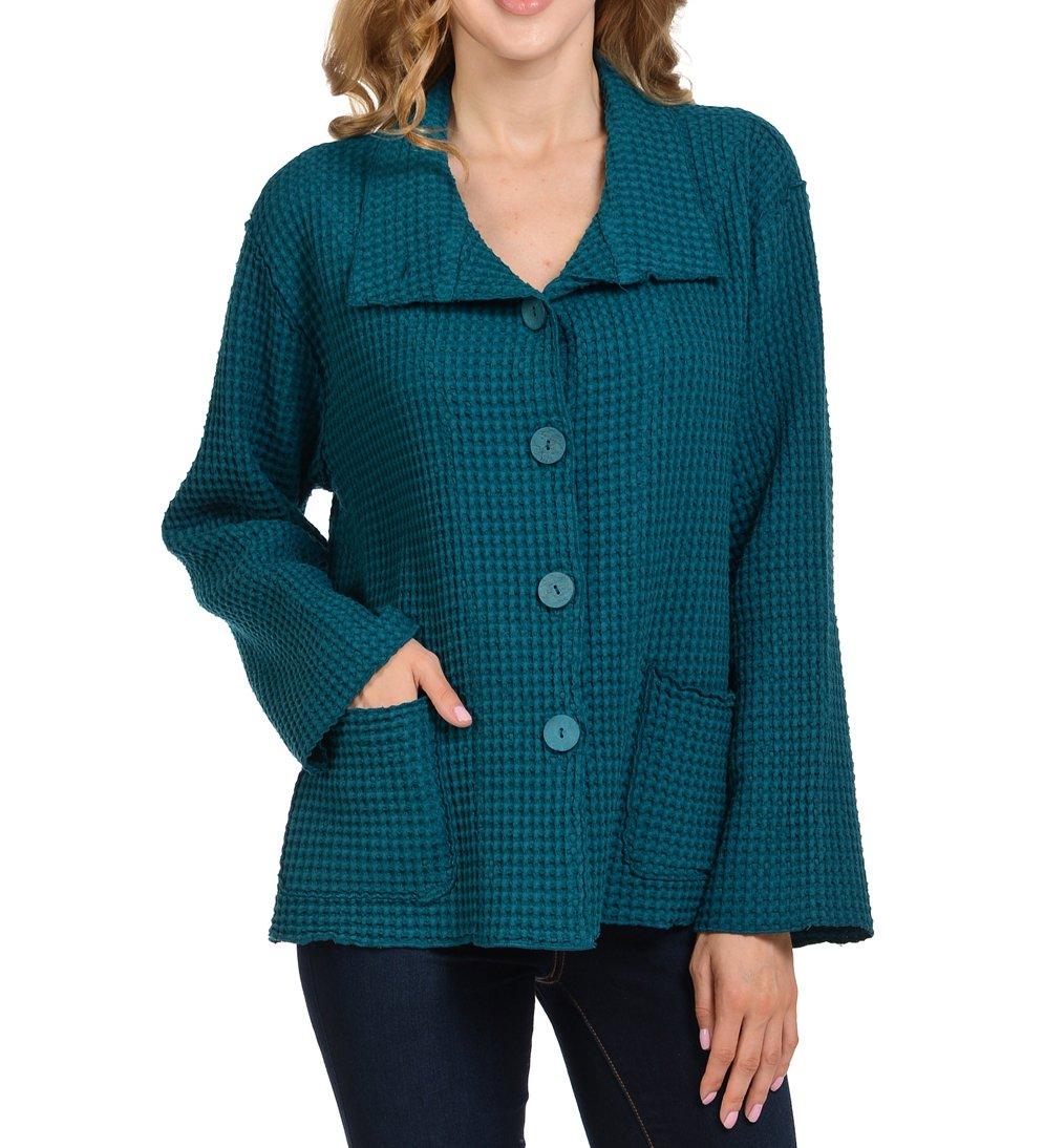 Focus Fashion Women's Cotton Big Waffle All Seasons Jacket (Large, Teal)