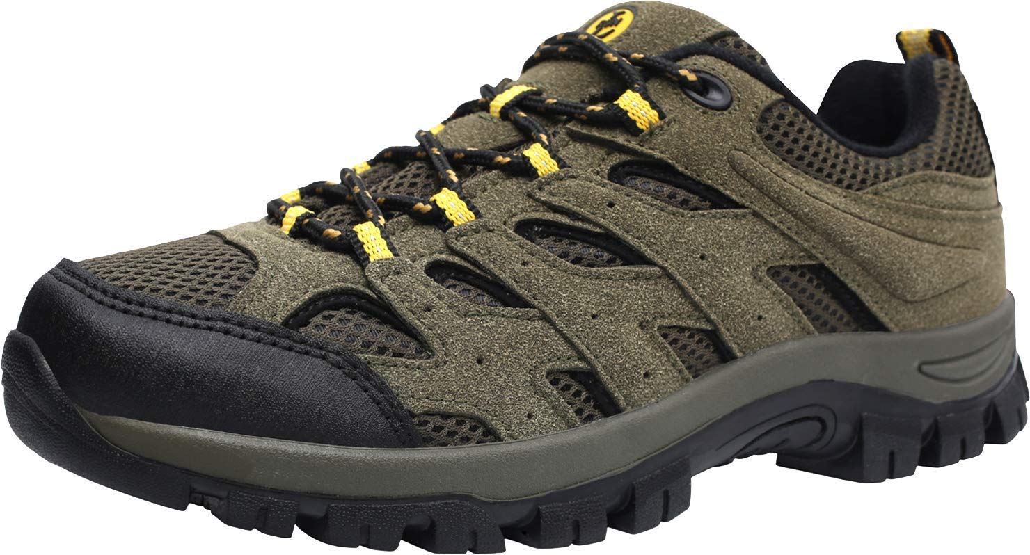 L-RUN Mens Running Shoes Waterproof Hiking Boots Outdoor Shoes Green 10 M US