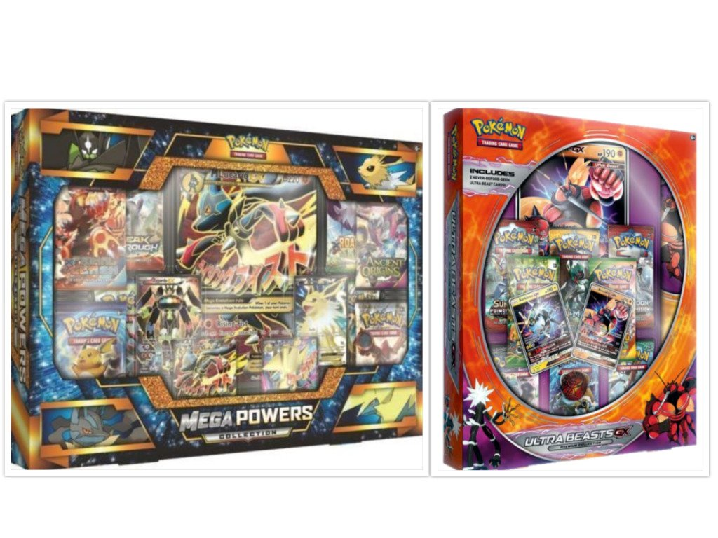 Pokemon Trading Card Game Mega Powers Collection Box and Ultra Beasts Buzzwole GX Premium Collection Box Bundle, 1 of Each by FED USA Gaming