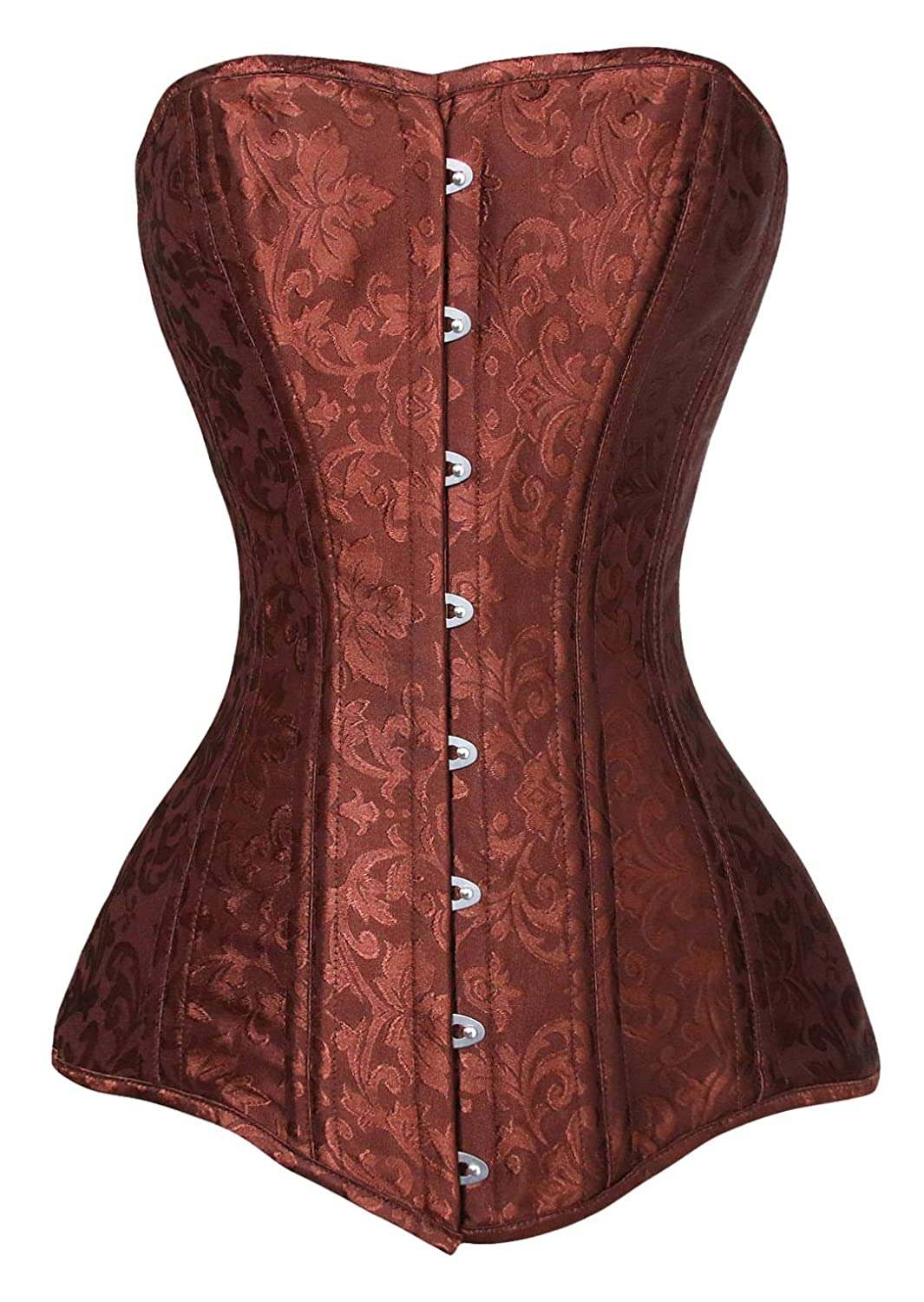 Charmian Women's Sipral Steel Boned Long Torso Gothic Steampunk Overbust Corset CA0000806