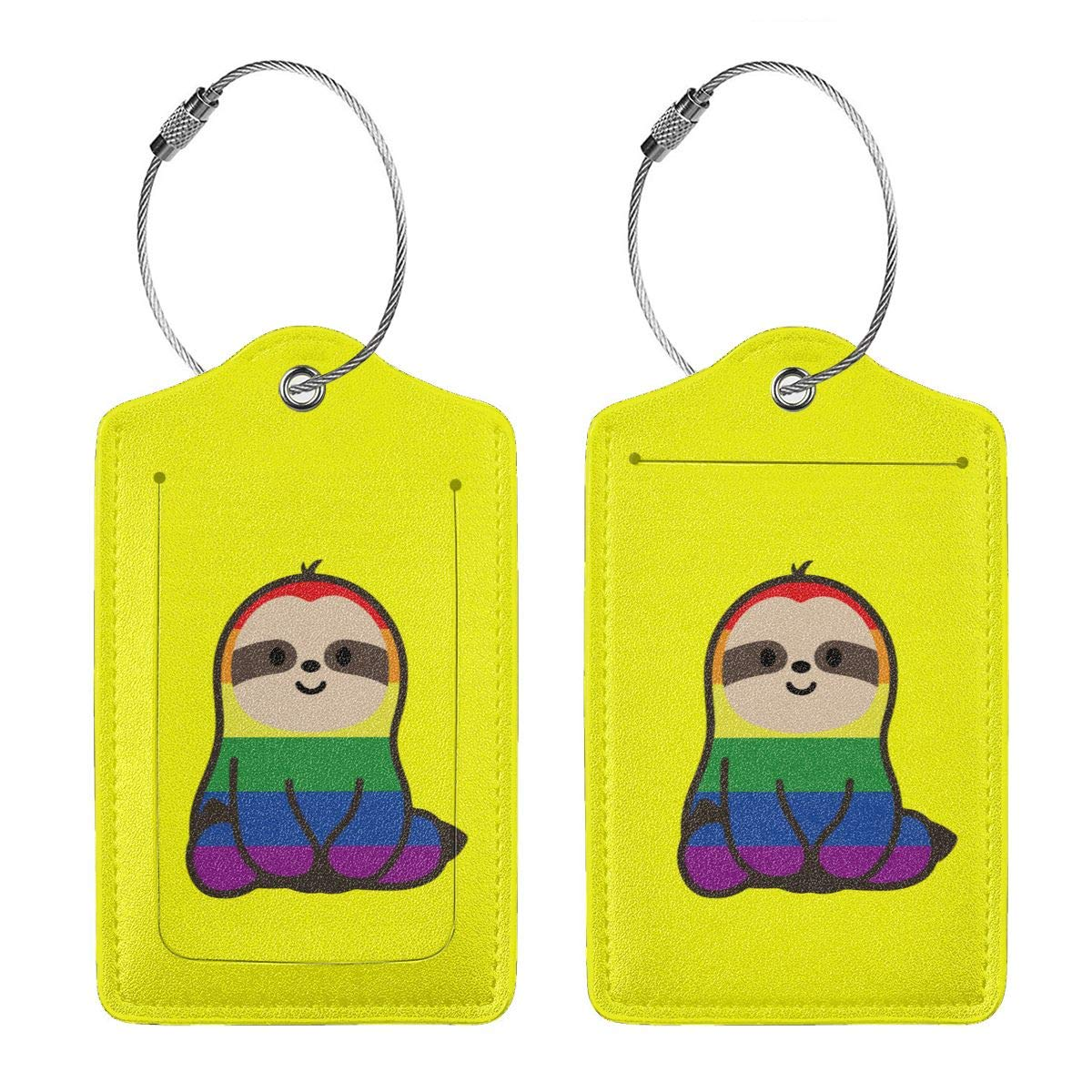Cute Cartoon Sloths Leather Luggage Tags Suitcase Tag Travel Bag Labels With Privacy Cover For Men Women 2 Pack 4 Pack