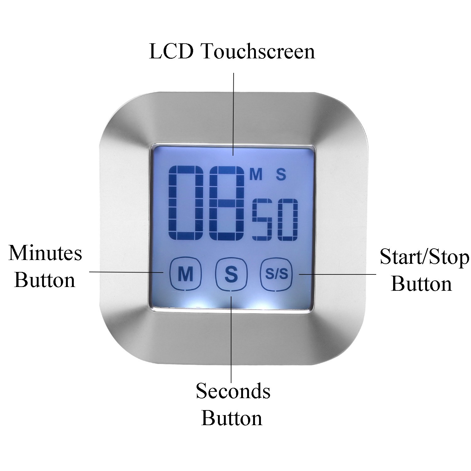 WERCOMIN Digital Kitchen Timer Touchscreen Cooking Timers Clock Backlit LCD Screen Loud Alarm Magnetic Backing Stand for Game, Classroom, Sports, Exercise by WERCOMIN (Image #2)