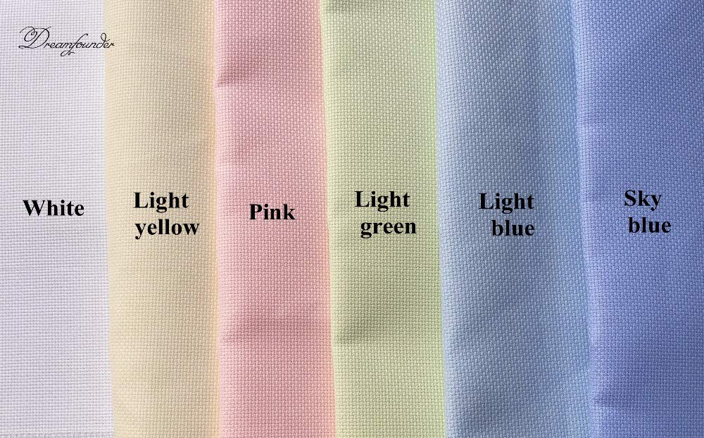 Zamtac 50x50cm 100x100cm 145x100cm Aida 14ct White Cloth Pink Black flaxen Green Cross Stitch Fabric Canvas DIY Handmade Needlework sew Color: Green, Size: 50x50cm