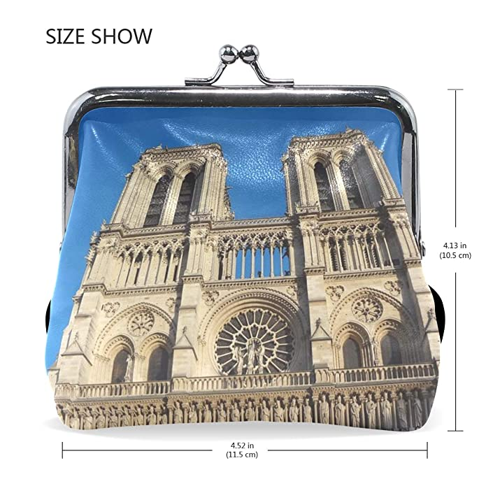 Rh Studio Coin Purse Clasp Closure Paris Notredame Cathedral Gothic Print Wallet Exquisite Coin Pouch Girls Women Clutch Handbag Exquisite Gift