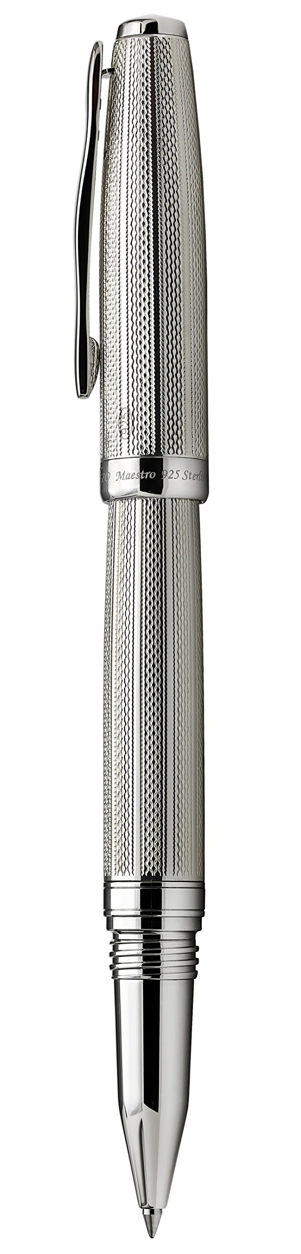 Xezo Solid 925 Sterling Silver Serialized Fine Rollerball Pen with Screw-On Cap (Maestro 925 Sterling Silver R-1) by Xezo (Image #4)
