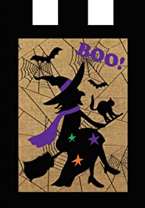 "Briarwood Lane Halloween Witch Burlap Garden Flag Boo Bats Black Cat 12.5"" x 18"""