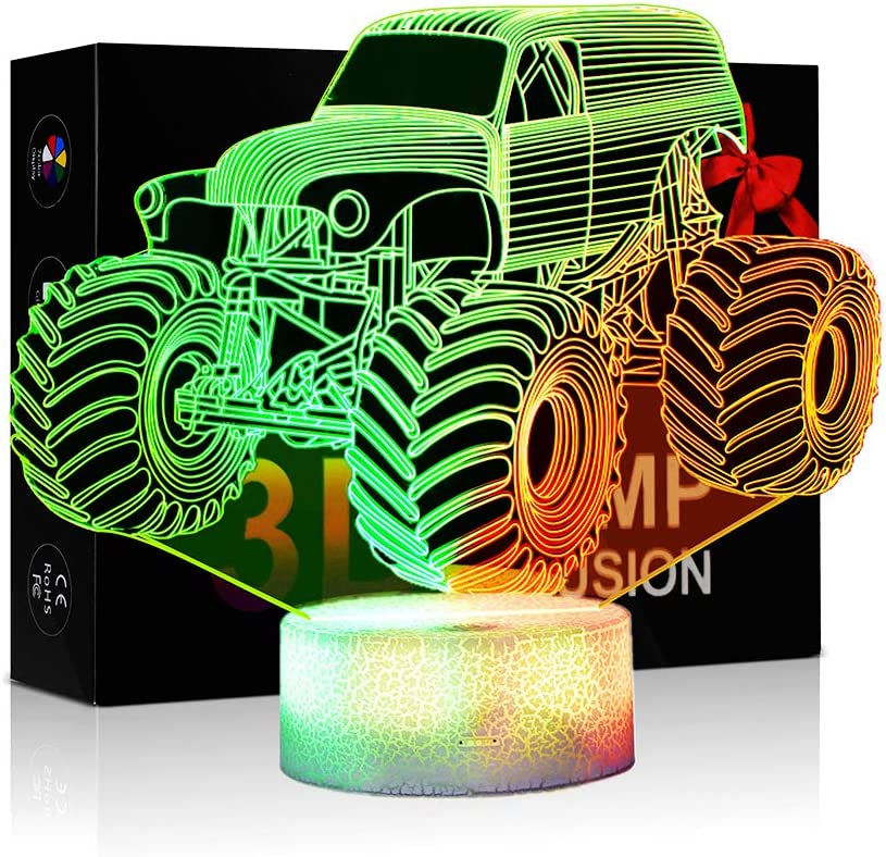3D Lamp Monster Trucks Decor Room Nightlights for Kids Car 7 Colors Changing LED Night Lamp with Smart Touch Features for Boys Girls Age 2 3 4 5 6 7+ Year Old with Xmas Gifts
