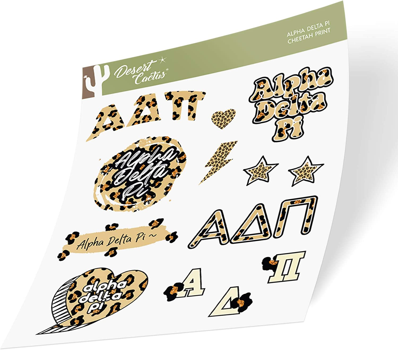 Alpha Delta Pi Sticker Decal Laptop Water Bottle Car (Cheetah Print Sheet)