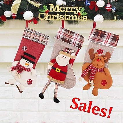 PROACC 3 Pieza Medias de Navidad, Calcetines de Navidad Decoración, 3D Papá Noel muñeco