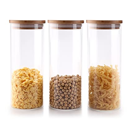 72f479bfe039 T4U 900ML High Borosilicate Glass Cylinder Airtight Food Storage Container  Canister Jar with Bamboo Lid & Silicone Sealing Ring Set of 3
