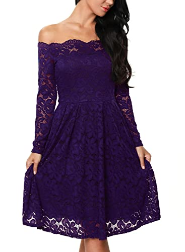 Astylish Womens Vintage Floral Lace Cocktail Formal Evening Party Swing Dress