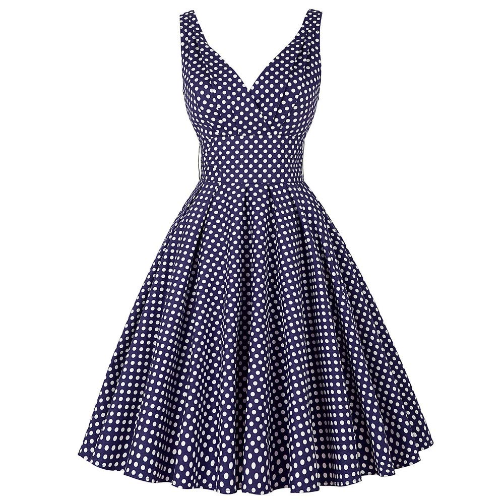 Navy bluee Aignse Womens Dresses Women Summer Up Swing Dot Robe Dress