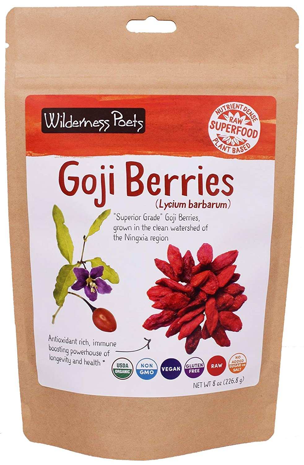 Amazon Com Wilderness Poets Organic Raw Goji Berries 8 Ounce