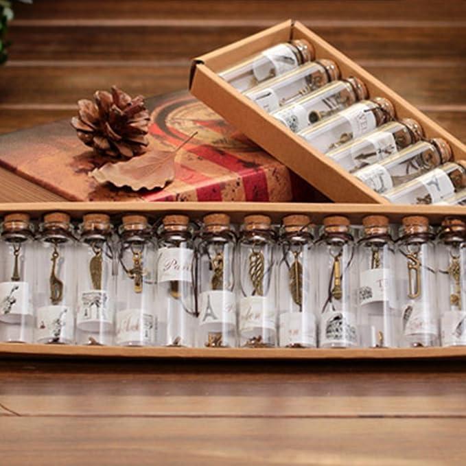 Hemore - Mini Botellas de Cristal con Colgante de Metal para Bodas y Regalos de cumpleaños: Amazon.es: Hogar