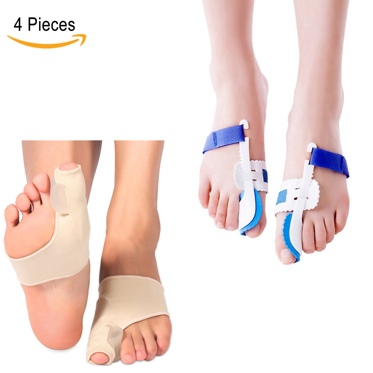 Bunion Corrector Toe Hallux Valgus Straighteners - Carikaien 4 PCS Splint Hammer Toe Splint Aid Surgery Treatment Guard for Men and Women One Size Fits Most Feet
