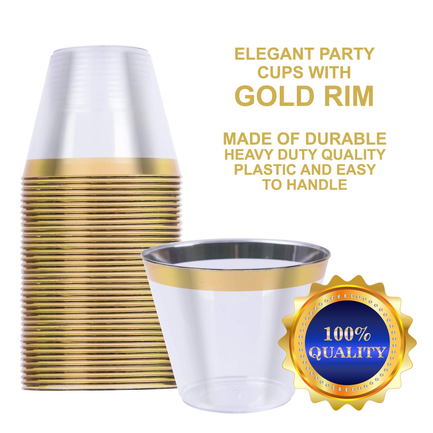 110 Plastic Cups with Gold Rim 9 Oz Disposable & Reusable Elegant Party Cups - Clear Plastic wine and champagne glasses for Weddings, Party & Anniversary - BPA-Free, Durable, Stackable