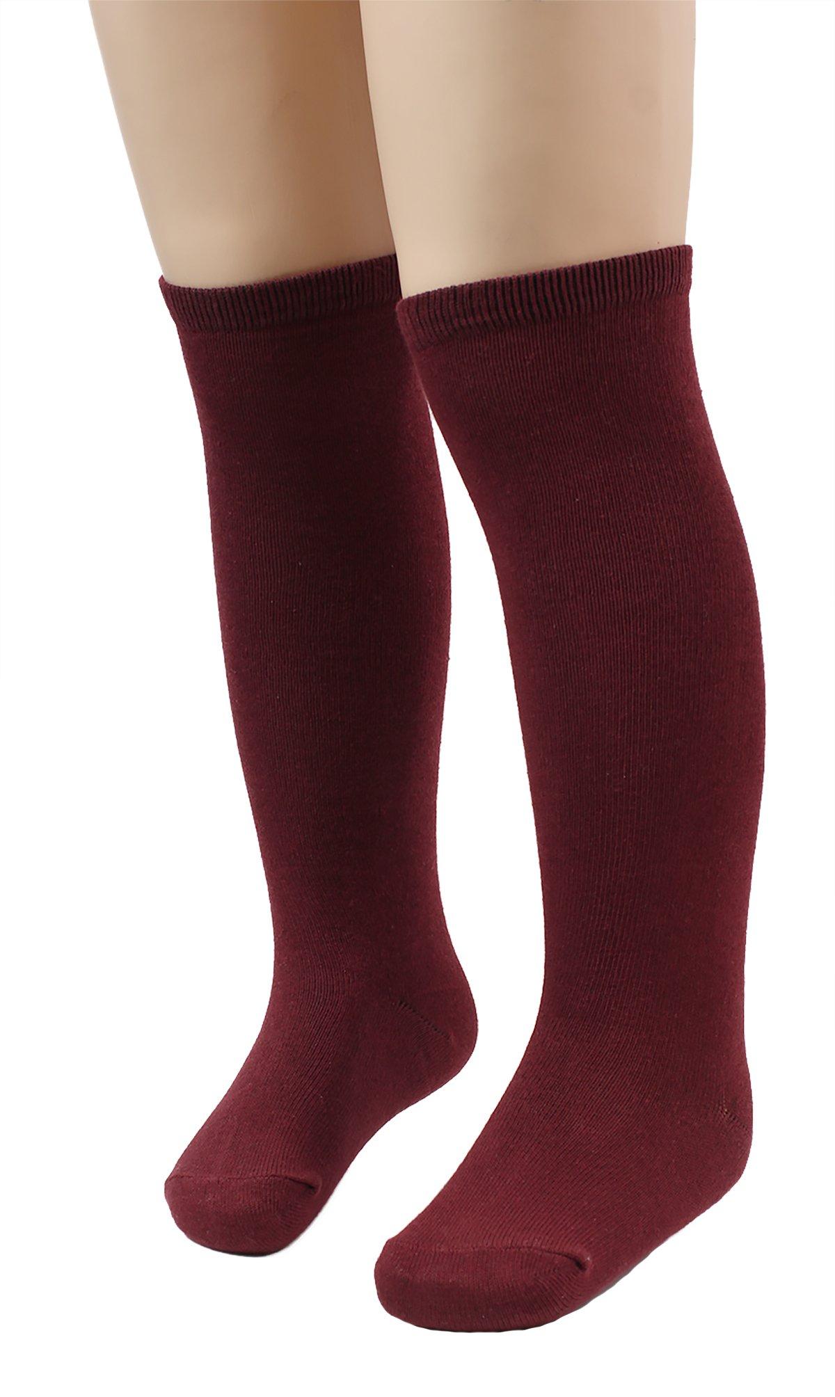 Girls' School Uniform Knee High socks (Pack of 6) (Small, Burgundy)