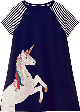 Girls Toddler Unicorn Summer Dress Heart and Flowers Design 2 3 4 5 Years