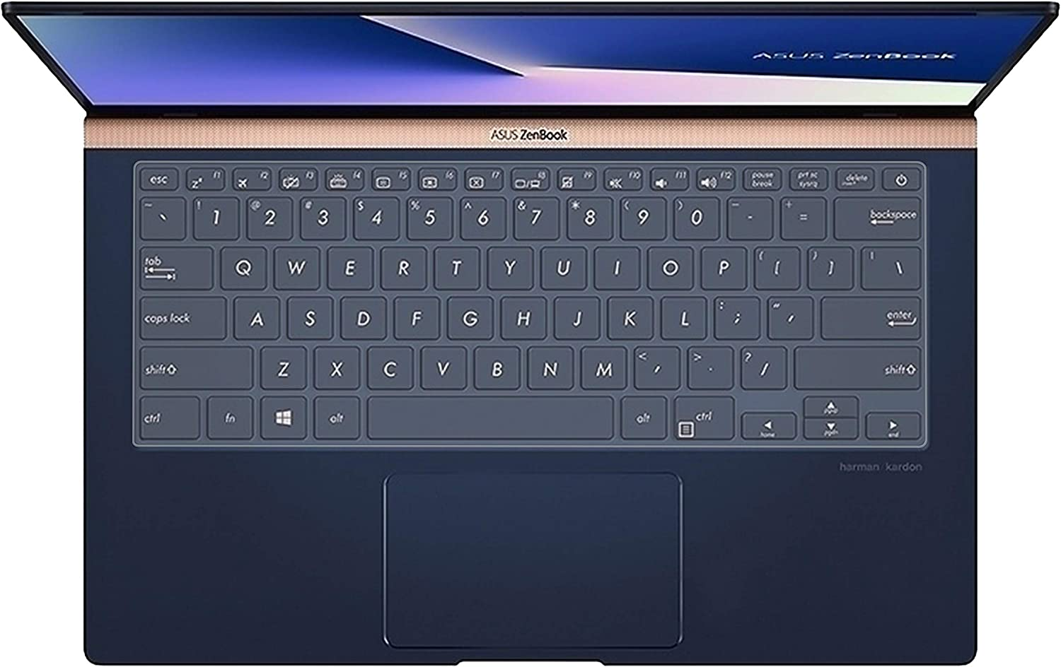 """LEZE - Ultra Thin Keyboard Skin Cover for 14"""" ASUS ZenBook UX433FA UX433FN UX434 UX434FL Ultra-Slim Laptop - Clear"""