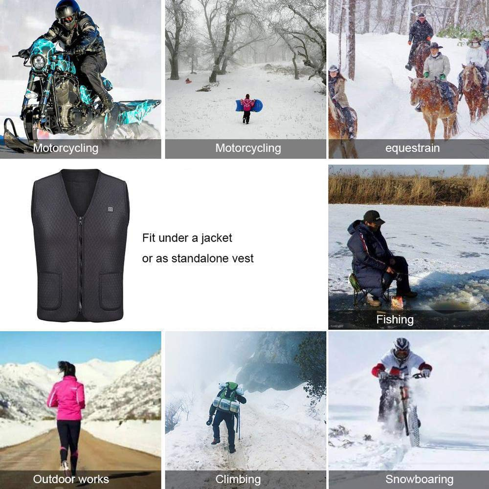 KKmoon USB Electric Heated Vest Warm Mens Clothing Heating Coat Jacket for Winter Motorcycle Skiing Hiking XXXL