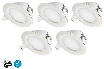 Tevea Ip44 Led Spot Encastrable Aussi Pour Salle De Bains 4w 6500k 230v Blanc Froid Lot De 5 Spots
