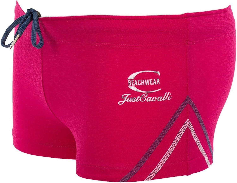Just Cavalli Men Black Square Cut Swim Short Stretch Beach Boxer Briefs Swimsuit