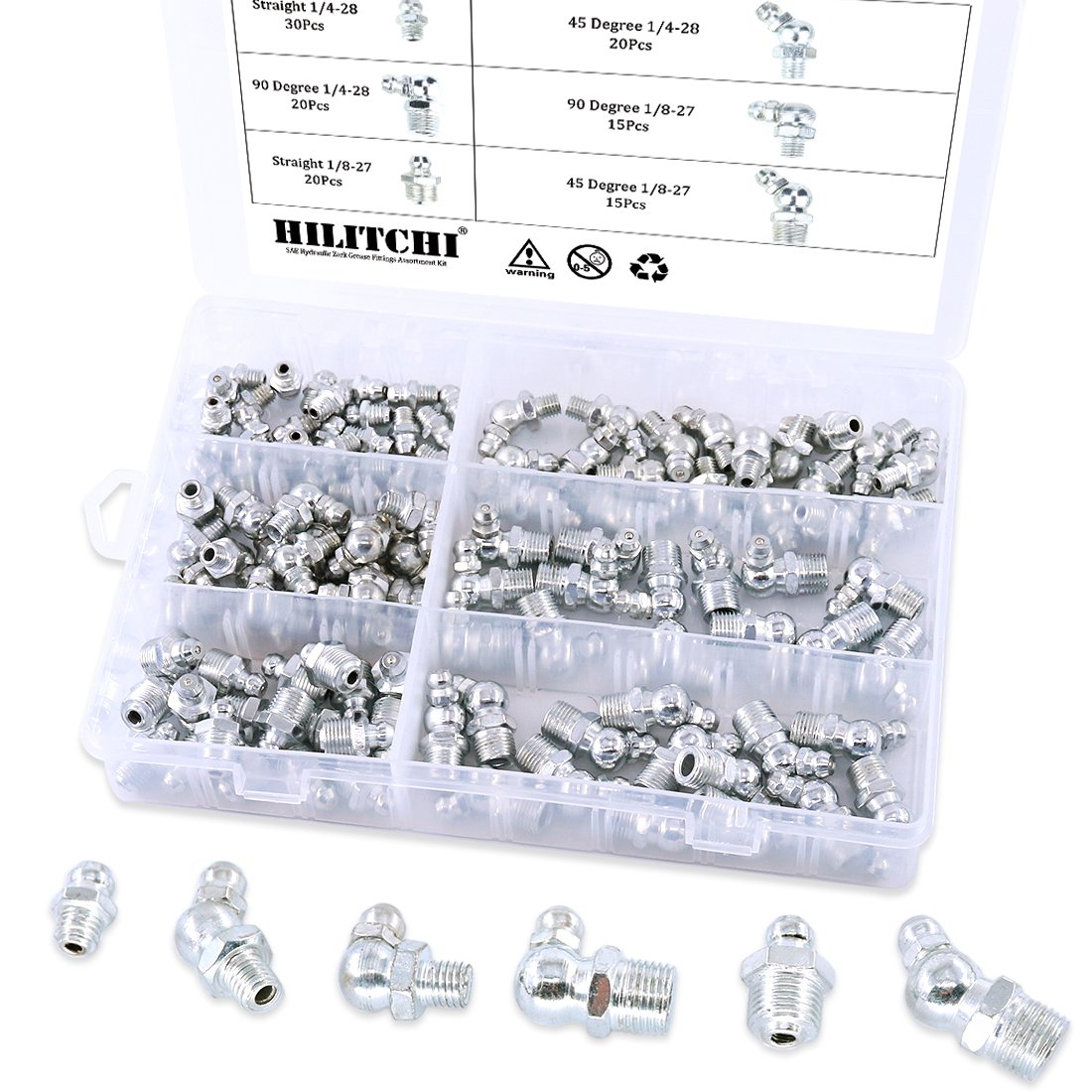 Hilitchi 120pcs SAE Hydraulic Zerk Grease Fittings Assortment Kit