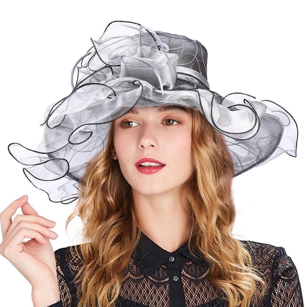 Vbiger Women\'s Summer Kentucky Derby Hat Large Brim Sun Hats Ascot Race Derby Hat for Cocktail Tea Party Wedding (Grey 2)