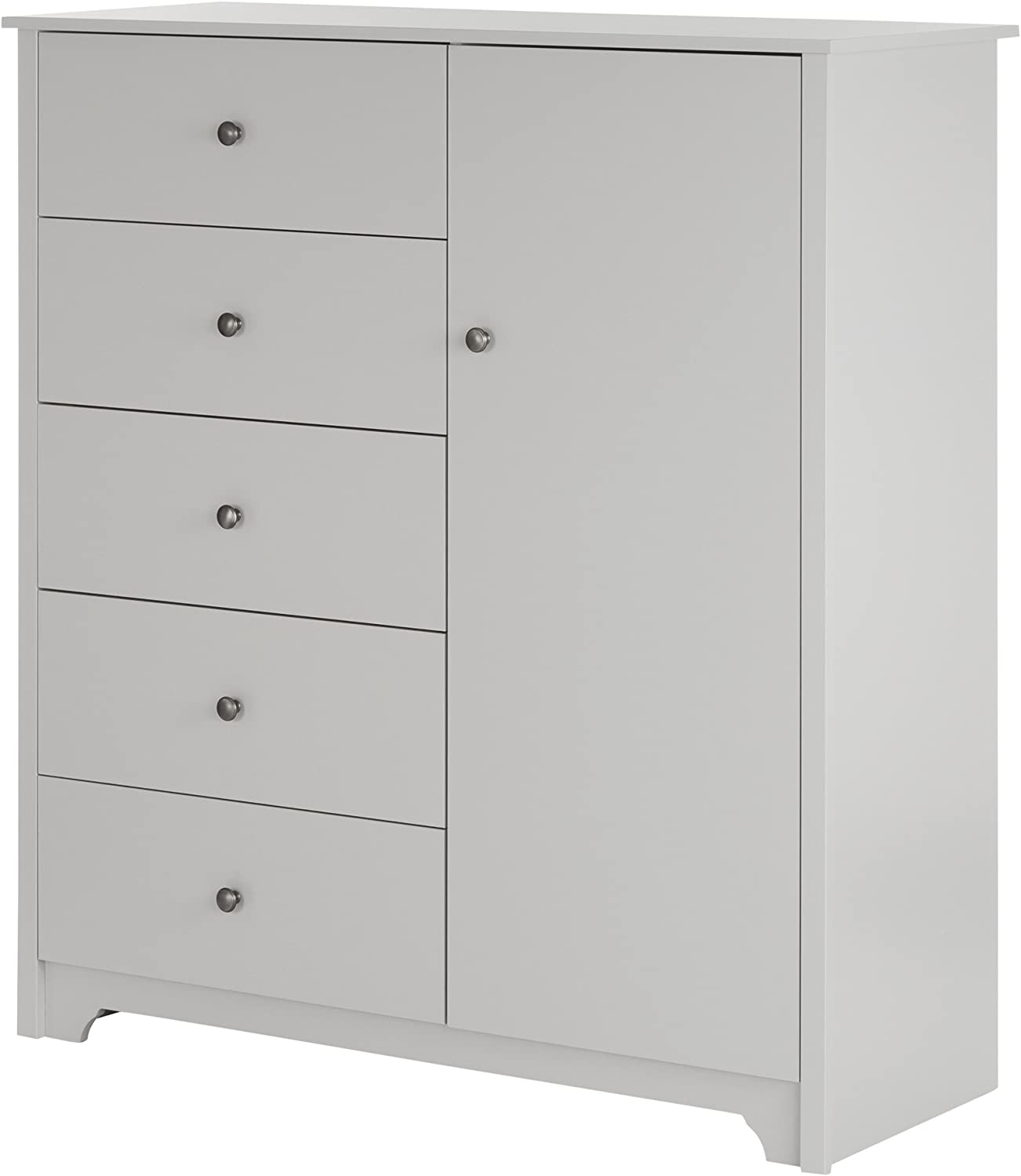 South Shore Vito Door Chest with 5 Drawers and Adjustable Shelves, Soft Gray
