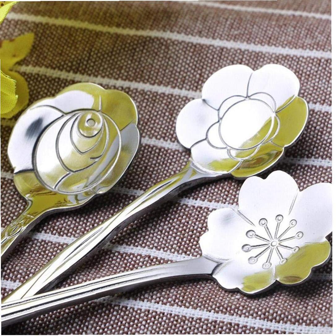Byfri 8pcs Acero Inoxidable cucharas Set Flor Tallada de agitaci/ón Mini cucharas de t/é Herramientas Postres cucharillas de caf/é vajilla de Cocina