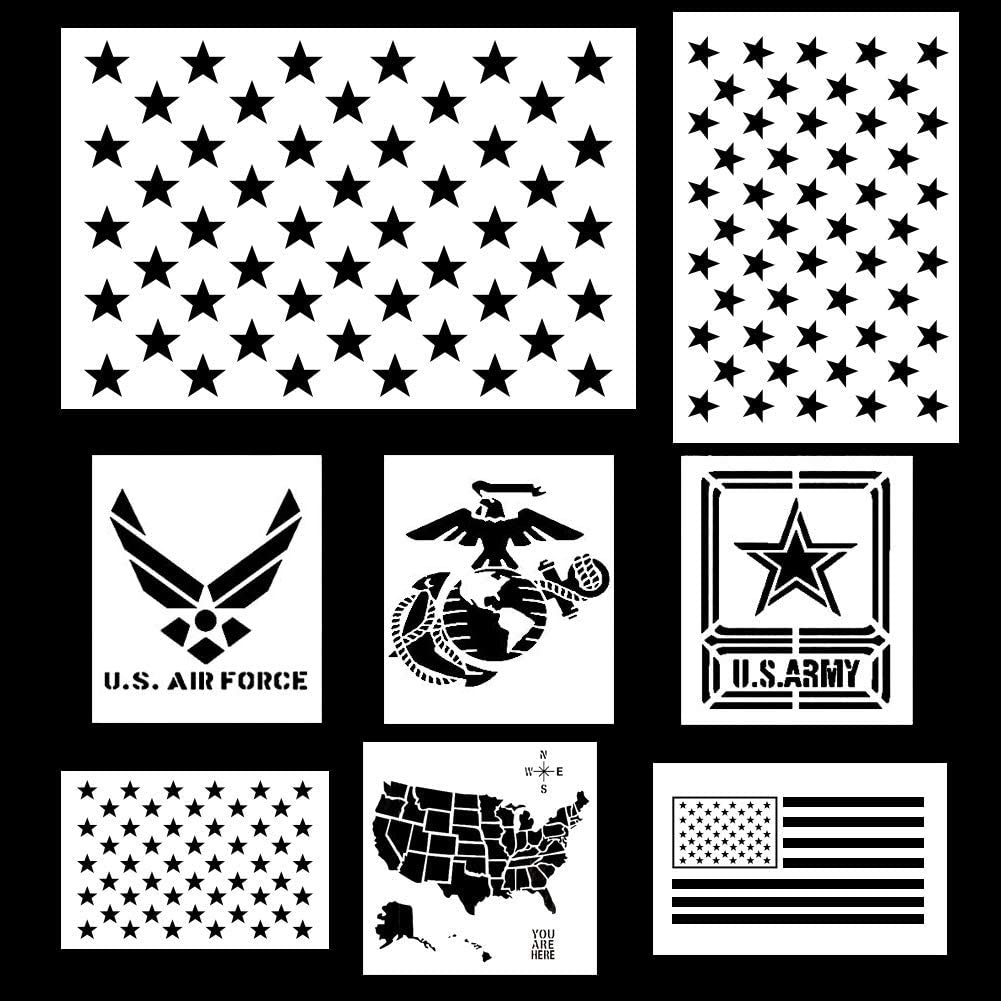 Koogel 9pcs Plastic Stencil Template, American Flag 50 Star US(Map on alabama template, virginia template, california template, united states of america template, global map template, mapping document template, continent map template, florida template, africa map template, bubble map graphic organizer template, world map template, map scale template, new york template, wisconsin template, oregon template, maryland template, europe map template, north america template, arizona template, play format template,