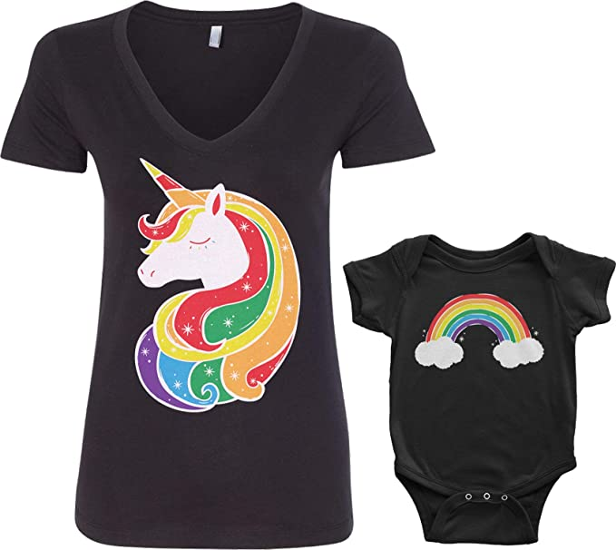 6de2daf48 Amazon.com  Threadrock Unicorn   Rainbow Infant Bodysuit   Women s V ...