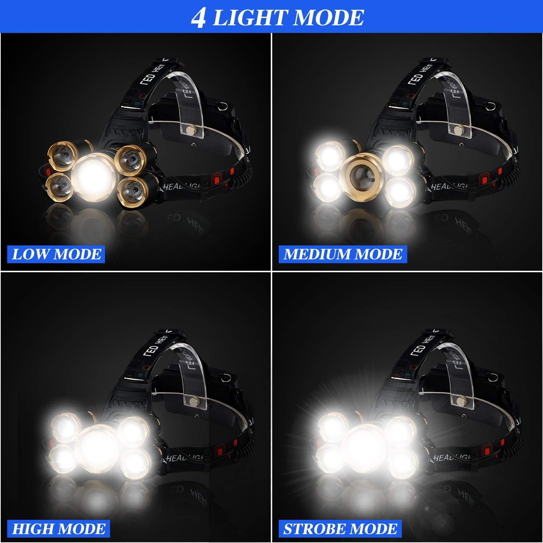 FightingGirl 5 Led Headlamp 12000 Lumen Flashlight- Rechargeable 18650 Headlight Flashlights Waterproof Hard Hat Light Bright Head Lights Camping Running Hiking Headlamps by FightingGirl (Image #9)