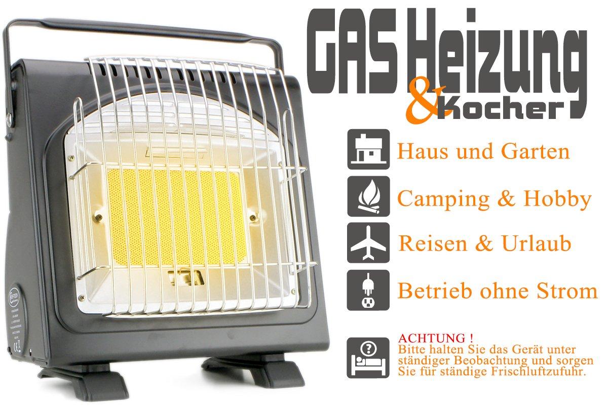 Camping Taller exterior Estufa gas calefacción y eléctrica Max. Max. eléctrica 1,7 Kw Gas Foco cerámica camping Hekers y de interfaz + 3 cartuchos de gas en Juego dfbe28