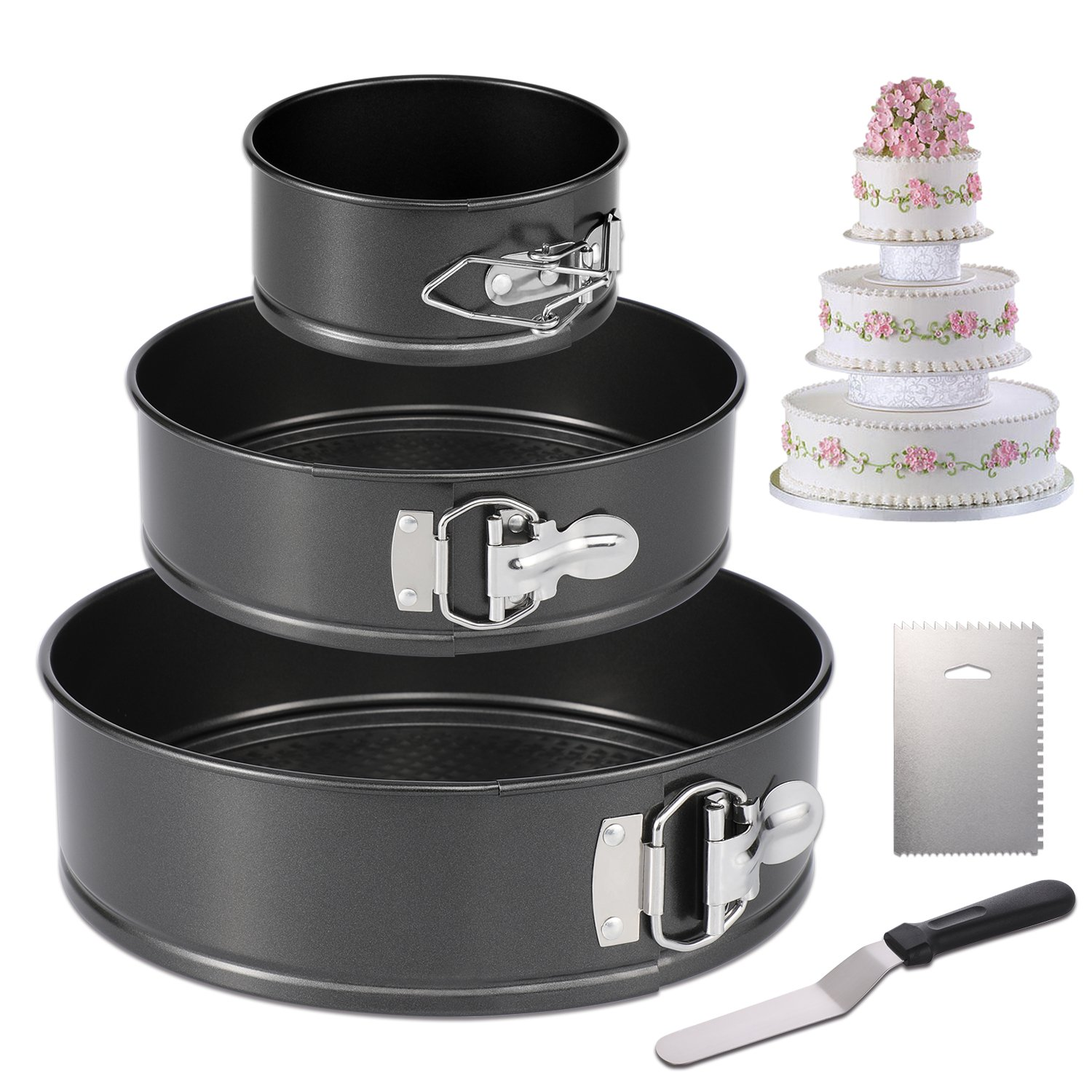 Hiware Springform Pan Set of 3 Non-stick Cheesecake Pan, Leakproof Round Cake Pan Set Includes 3 Piece 4'' 7'' 9'' Springform Pan, Icing Spatula and Icing Smoother