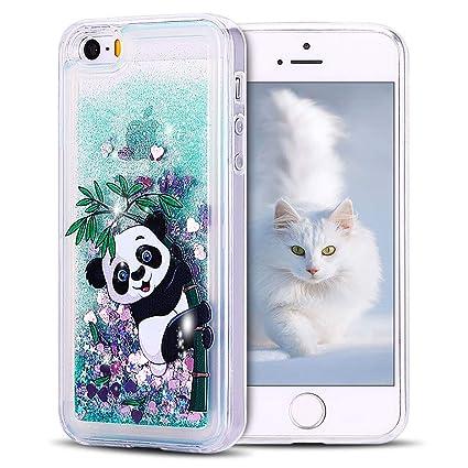 SpiritSun Funda iPhone 5 / 5S Carcasa iPhone 5 / 5S / SE, Transparente Líquido Bumper Tapa Silicona Case Flexible Gel TPU Bling Suave Protectora Caso ...