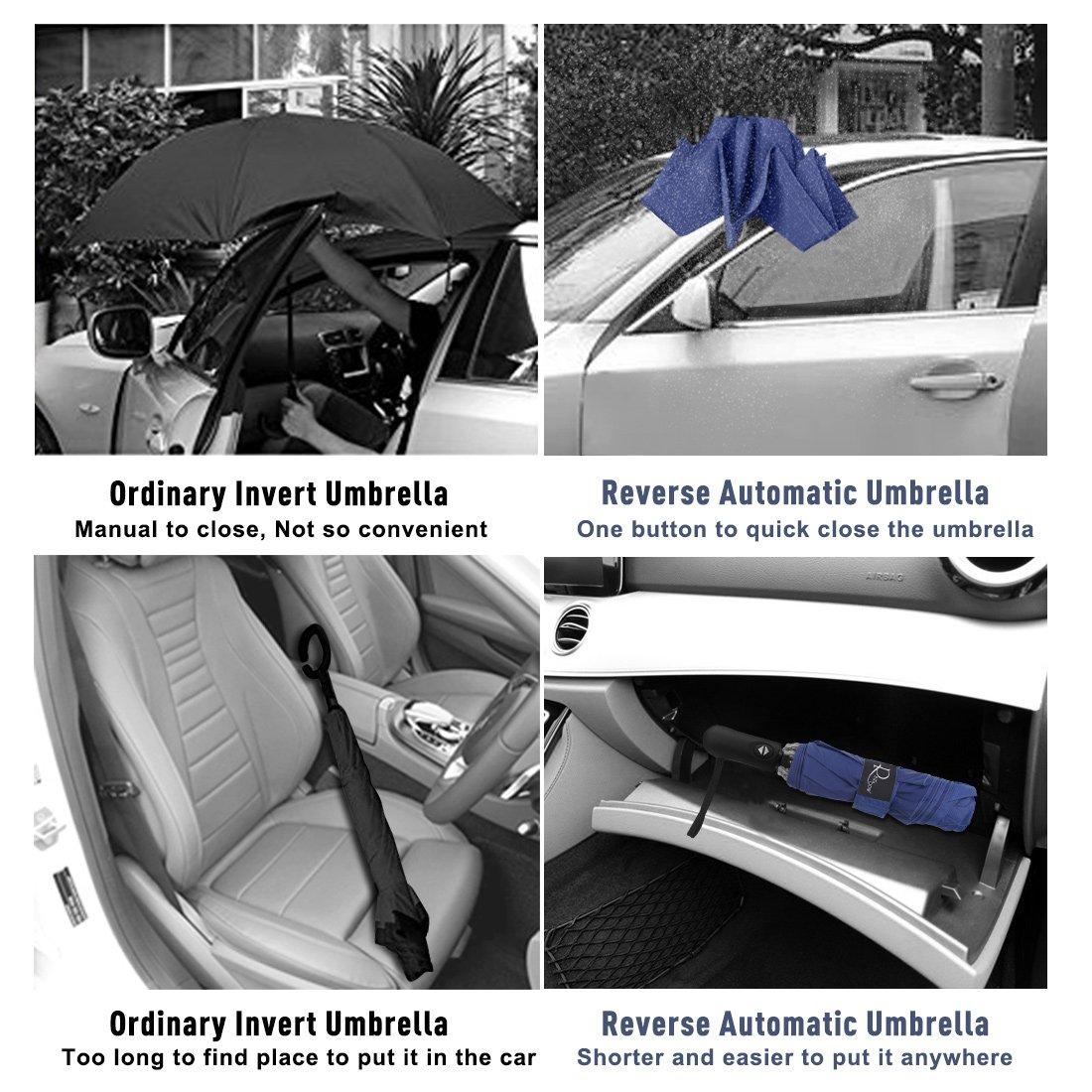 Nesus Umbrella Windproof Travel Umbrella 8 Ribs Auto Open Close with Waterproof Canopy Compact Folding Reverse Umbrella(Blue) by Nesus (Image #7)