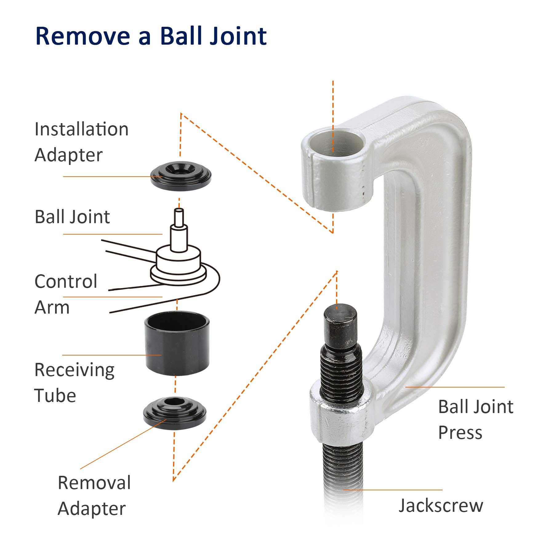 OrionMotorTech Heavy Duty Ball Joint Press & U Joint Removal Tool Kit with 4wd Adapters, for Most 2WD and 4WD Cars and Light Trucks (BK) by OrionMotorTech (Image #4)