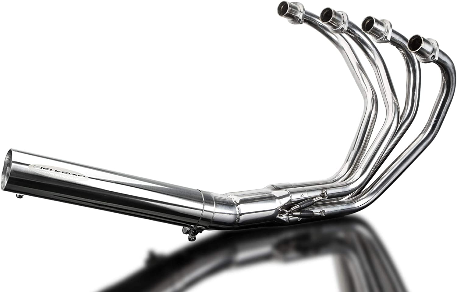 with Classic Straight Universal Muffler and Stainless Steel 4-1 Headers 1972-1974 Delkevic Aftermarket Complete System compatible with Honda CB350F CB350 FOUR