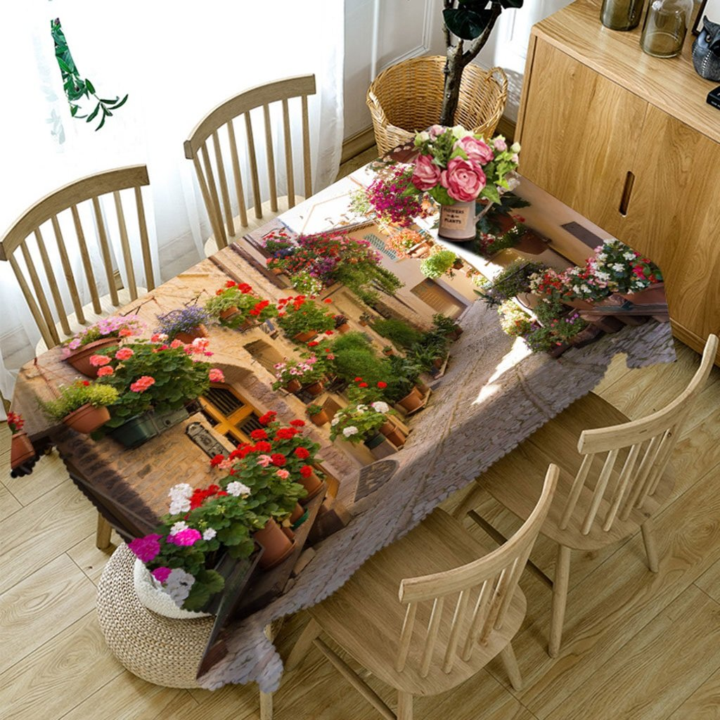 Barato Qiao jin Manteles Mantel de cama de observación europeo Hutong Mantel de mesa rectangular 3D - ecológico e inodoro - Impermeable de impresión digital (Tamaño : Square -216cmx216cm)