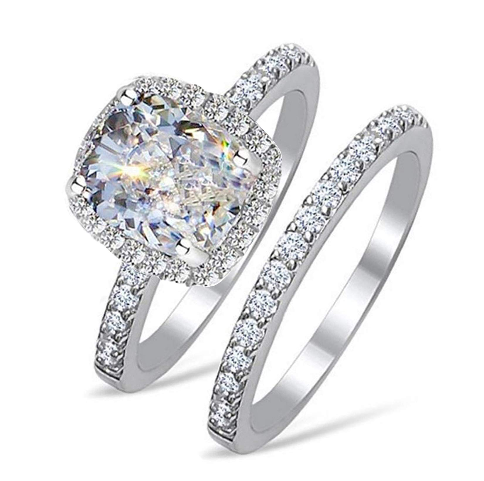 RS45 TOP GRADE 2 CARAT RADIANT EMERALD CUSHION CUT SONA NSCD SIMULATED DIAMOND RING BAND SET SOLID 925 SILVER