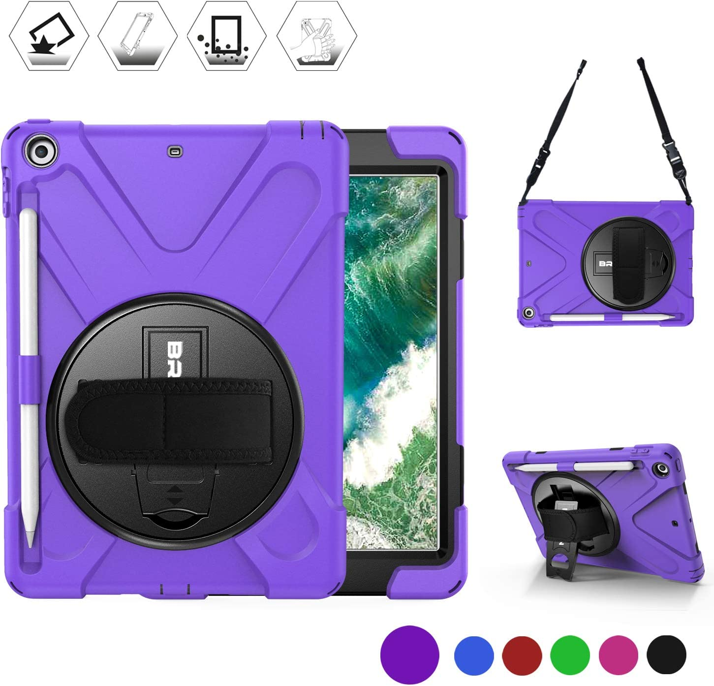 BRAECN Case for iPad 9.7 Inch 2018/2017, Heavy Duty Shock-absorbing Protective Case Cover with Pen Holder, Handle Hand Strap, Kickstand and Shoulder Strap for iPad 9.7 5th/6th Generation Tablet-Purple